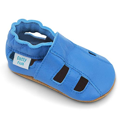 Dotty Fish Weiche Baby und Kleinkind Lederschuhe. Jungen und Mädchen. Sandalen hellblau. 6-12 Monate (19 EU)