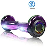 FLYING-ANT Hoverboard Self Balancing Scooters 6.5' Flash Two-Wheel Self Balancing Hoverboard with Bluetooth Speaker and LED Lights for Kids and Adults Gift (Chrome Purple)