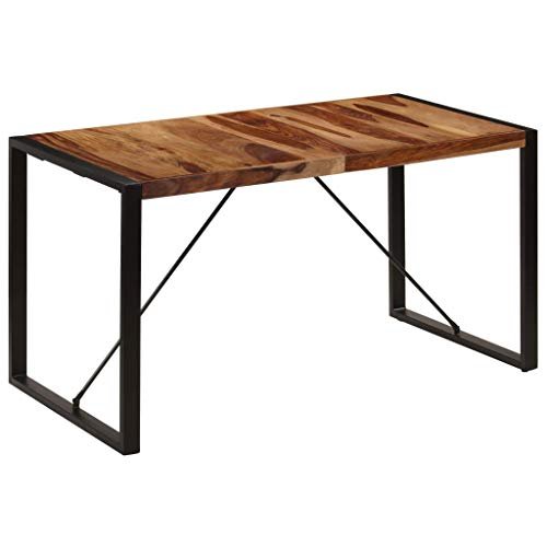 vidaXL Sheesham-Holz Massiv Esstisch Esszimmertisch Küchentisch Tisch Holztisch Speisetisch Massivholztisch 140x70x75cm Stahlbeine Palisander