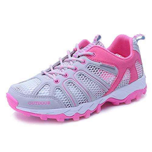 Aerlan Men's and Women's Sports Shoes,Calzado para Correr por Carretera,Zapatos Upstream Zapatos para Caminar Zapatos para Caminar al Aire Libre Zapatos Deportivos Transpirables-Light Grey_40#