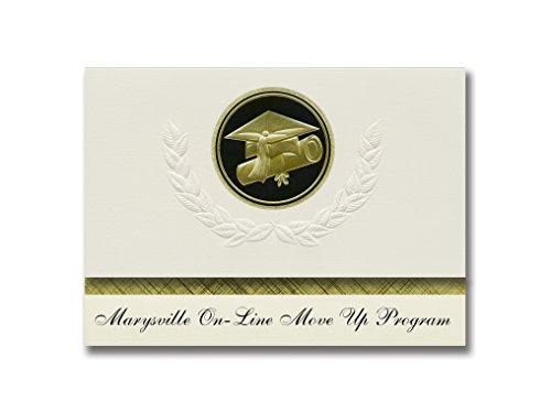 Signature Announcements Marysville On-Line Move Up Programm (Marysville, WA) Abschluss-Ankündigung, Presidential Elite Pack 25 Cap & Diplom-Siegel, Schwarz & Gold