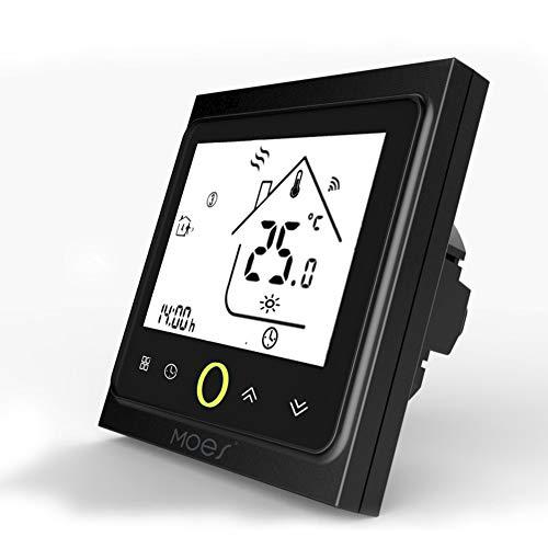 MOES Smart Thermostat WiFi Temperaturregler Smart Life/Tuya APP Fernbedienung für Wasser Gas Boiler Heizung 5+1+1 Programmierbar, Kompatibel mit Alexa Google Home (Schwarz)
