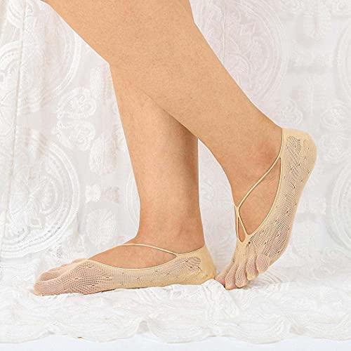 IYOU 5 Pares Calcetines Toe Topper Desnudo Corte bajo Calcetines de Cinco dedos No Show Calcetines del Dedo del pie Corto Medias por Mujeres Chicas Bote Zapatos Zapatillas y Mocasines