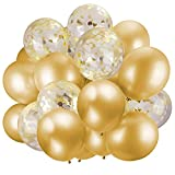 60 Pack Gold Balloons + Gold Confetti Balloons w/Ribbon | Balloons Gold | Gold Balloon | Gold Latex Balloons | Golden Balloons | Party Balloons 12 inch | Clear Balloons with Gold Confetti |