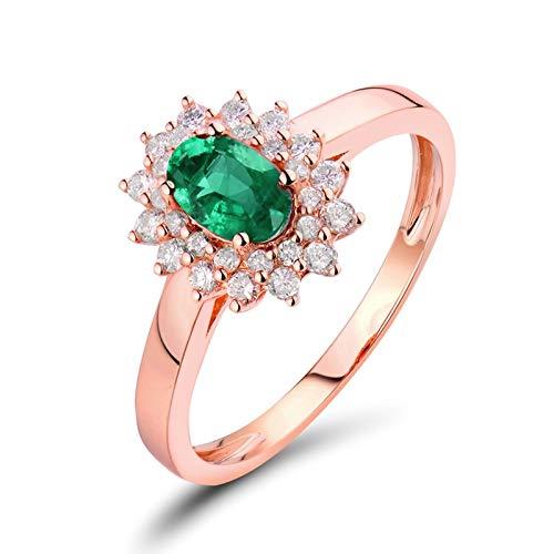 AnazoZ Anillo con Esmeralda Mujer,Anillo Oro Rosa 18K Oro Rosa Verde Oval y Flor Esmeralda Verde 0.5ct Diamante 0.3ct Talla 23,5