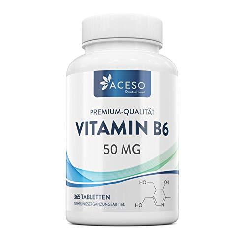 Vitamin B6 50mg | 365 hochwirksame vegane Tabletten | Trägt zu einem gesunden Stoffwechsel, einer normalen Funktion des Nerven- und Immunsystems bei | Trägt zum Abbau von Müdigkeit bei | Von Aceso