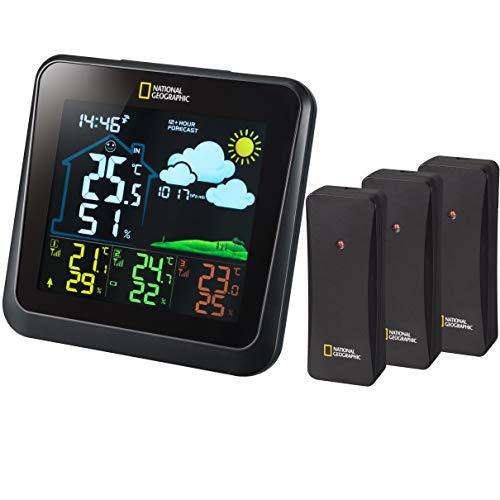 National Geographic Estación meteorológica inalámbrica con Sensor Exterior, estación meteorológica a Color VA con 4 rangos de medición para Interior o Exterior, Color Negro