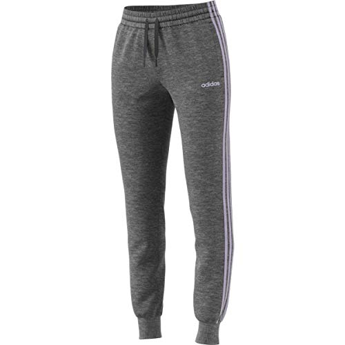 adidas Essentials 3s Single Jersey Pant, Dark Grey Heather/Purple Tint, Medium/A