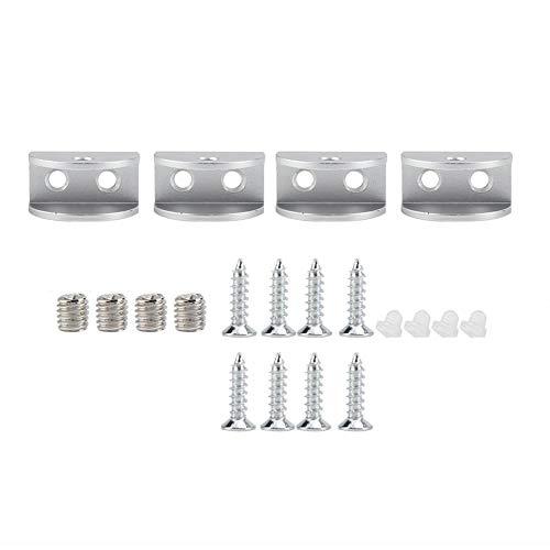 Paquete de 4 Soporte de estante para clip de fijación de clip de vidrio medio redondo Abrazadera Soporte para ventana Muebles de esquina Hardware de aluminio(M)
