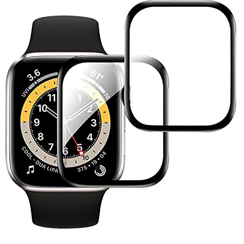 FYY [Confezione da 2 Proteggi Schermo in Vetro temperato per Apple Watch SE 4 5 6 (44 mm), Protezione Curva 3D con Copertura Completa Pellicola Trasparente HD Ultrasottile AntiGraffio con durezza 9H