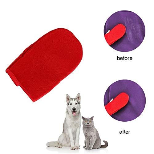 YUNGYE Haustier-klebrige Haar-Handschuhe, Kleidungs-Staubpinsel-klebrige Bürsten-Borsten-Gerät-Antistatikhaar-Abbau (Color : Red)