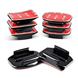 HSU Adhesive Mounts for GoPro Cameras - 4X Curved & 4X Flat Mounts Bundle with...