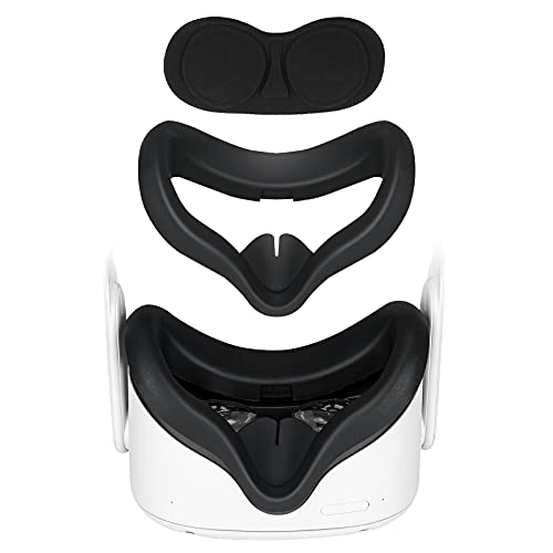 VR Silicone Face Cover, Face Mask for Oculus Quest 2 Headset Accessories, Keep Original Stock Facial Interface Clean, Dry, Soft & Lightproof, Bundled with Lens Protection Cover