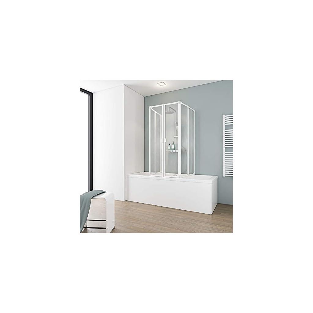 Schulte D1700 04 01 Paroi de douche pour baignoire, pare-baignoire rabattable, 2 x 3 volets pivotants, verre acrylique…