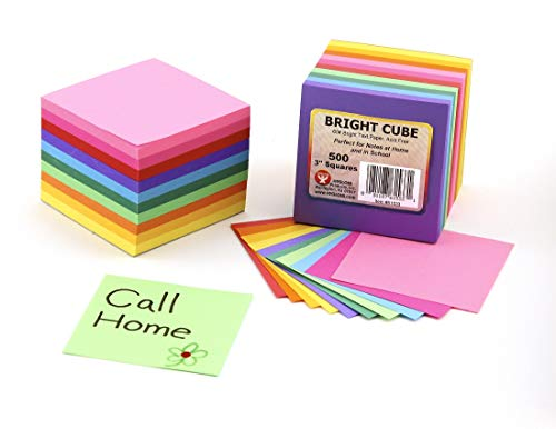 Hygloss 3x3 Bright Products Cube, 3-Inch Paper Squares-10 Assorted Colors-1 Pad, 3' x 3', 500 Sheets, Multicolor