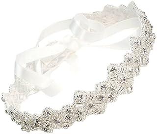 MEiySH Mosaic Handmade Crystals Beads with White Satin Ribbon Tie Wedding Bridal Fashion Headband Hair Accessory