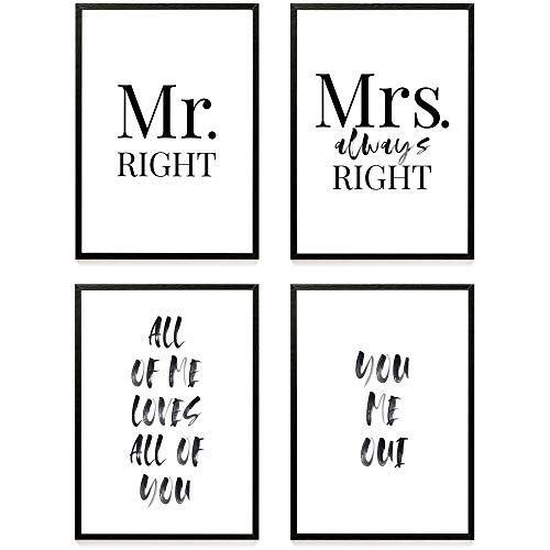 Heimlich ® Premium Poster Set | Stilvolles Set mit passenden Bilder in Schwarz-Weiß | 4 Stück in DIN A3 (30x42cm) | ohne Bilderrahmen » Mr. & Mrs «