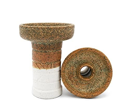 NBK PHUNNEL Cazoleta Cachimba Ceramica Artesanal | Shisha Cazoleta Barro Blanco con chamota | Tipo Phunnel | Compatible con todos los Gestores de Calor