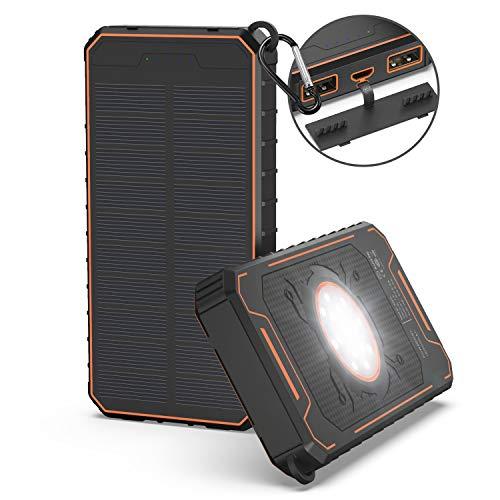 Powerowl Solar powerbank, draagbare externe accu, compatibel met 12000 mAh oplader op zonne-energie, snel opladen met LED-lamp, 2 USB-poorten voor outdoor, reizen, zakenreizen