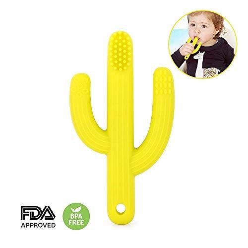 Cactus Teether Speelgoed Bpa Gratis voor Baby Voedsel Grade Silicone Gemakkelijk te houden Training Pacifier Clip Geel