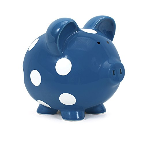 Child to Cherish Polka Dot Piggy Bank, Dark Blue by Child to Cherish