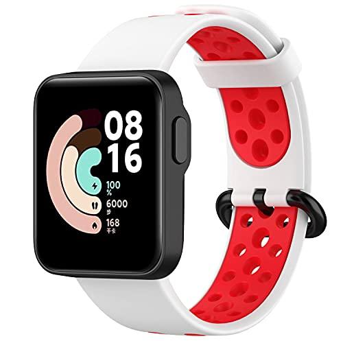 Keweni Correa Deportiva Compatible con Xiaomi Mi Watch Lite/Redmi Watch - Correa de Repuesto de Silicona Colorida para Hombres y Mujeres (Blanco Rojo)