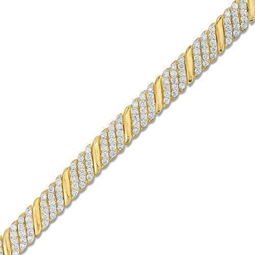 SLV Pulsera inclinada de 3 quilates T.W. de corte redondo con diamantes D/VVS1 en plata de ley 925 chapada en oro amarillo de 10 quilates