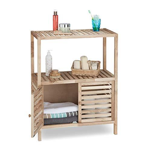Relaxdays Badschrank Holz mit 3 Ablagen, breites Badregal, Walnuss Regal f. Bad u. Küche, HxBxT: 86 x 68 x 36 cm, natur