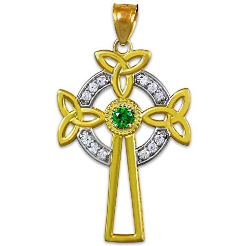 14K Two-Tone Gold Celtic Cross Trinity Knot Diamond Pendant with Emerald