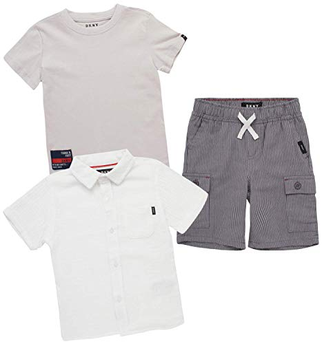 DKNY Baby Boys' Shorts Set -3 Piece Short Sleeve T-Shirt and Button Down Collared Shirt and Khaki Shorts Set (Infant/Toddler), Size 18 Months, White