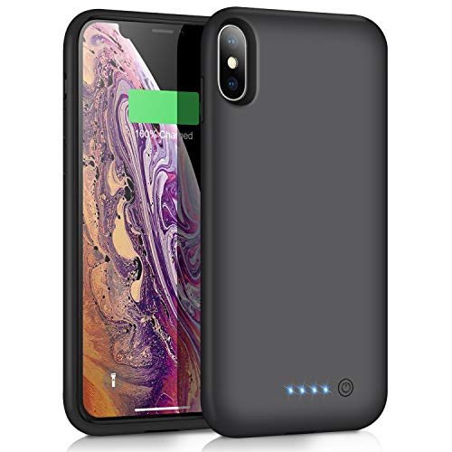 VOOE Battery Case for iPhone Xs MAX, 7800mAh Portable Battery Pack Ultra Rechargeable Smart Case Protective Battery Charging Case for iPhone Xs MAX External Battery Backup Cover(6.5 inch) - Black