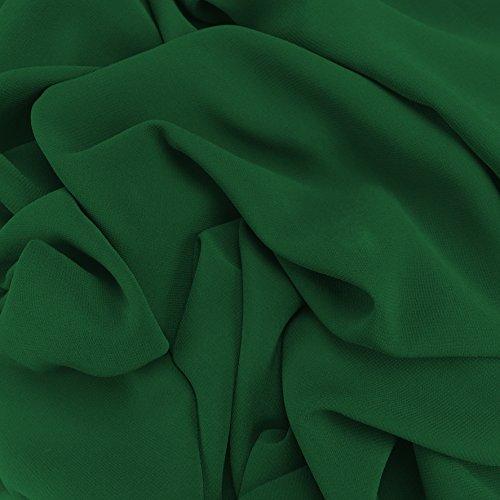 Flaschengrüne Georgette, Chiffon Synergy, Uni-Stoff, bräutlich, Kleiderstoff, 150 cm Breite - Meterware