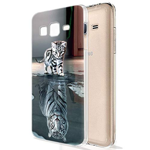 Zhuofan Plus Cover Samsung Galaxy J5 2016, Custodia Clear Silicone Soft Transparent Tpu Gel con Design Print Pattern Antigraffio Antiurto Protactive Cover per Samsung Galaxy J5 2016, Tigre di Gatto