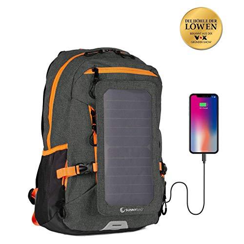 Sunnybag® EXPLORER+ Solar-Rucksack mit abnehmbarem 6 Watt Solarpanel - Smartphone, Tablet, Smartwatch, Powerbank unterwegs mit Solarenergie laden - mit Laptopfach und 15l Volumen - schwarz-orange