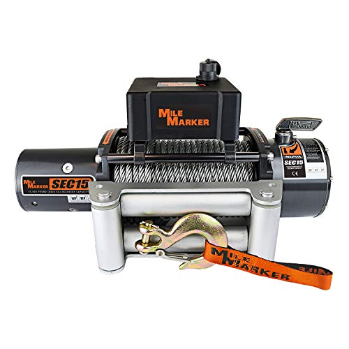 Mile Marker 76-50260W SEC15(es) Truck/SUV Premium Sealed Electric Winch - 15,000 lb. Capacity, 1 Pack,Steel cable