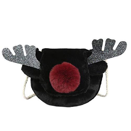 Frauen-Plüsch-Puppe Crossbody Beutel Weihnachten Deer Antlers Handtasche Frauen-Mädchen-Schwarz