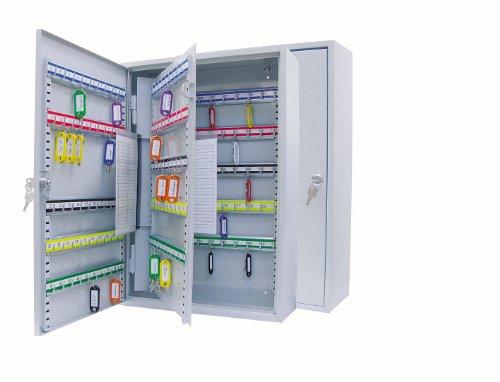 Wedo 10265037X Schlüsselschrank (für 150 Haken, pulverbeschichtetes Stahlblech 38 x 14 x 55 cm, Sicherheitsschloss inklusive 2 Schlüssel, Hakenleiste individuell verstellbar) lichtgrau