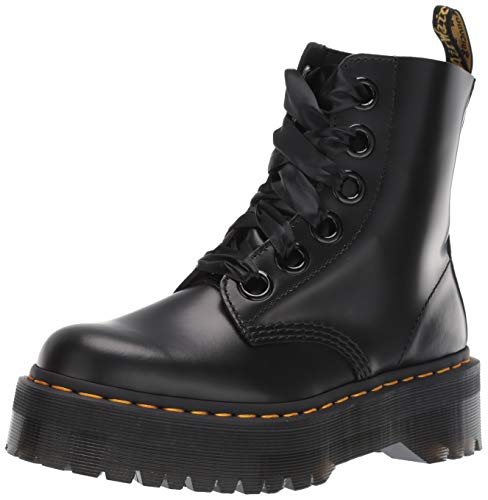 Dr. Martens Womens Molly Buttero Leather Lace Ribbon Smooth Black Boots - Black - 8.5