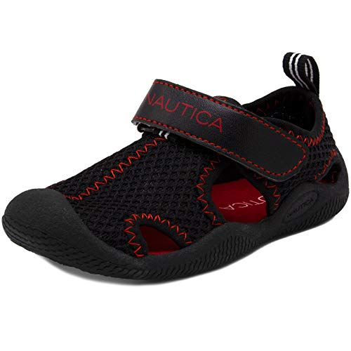 Nautica Kids Kettle Gulf Protective Water Shoe,Closed-Toe Sport Sandal-Black Mesh Red-9