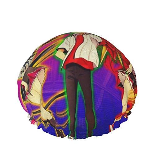Bonnet de douche High School Dxd pour femme - Étanche et réglable - Double couche - Design surdimensionné adapté à tous les cheveux