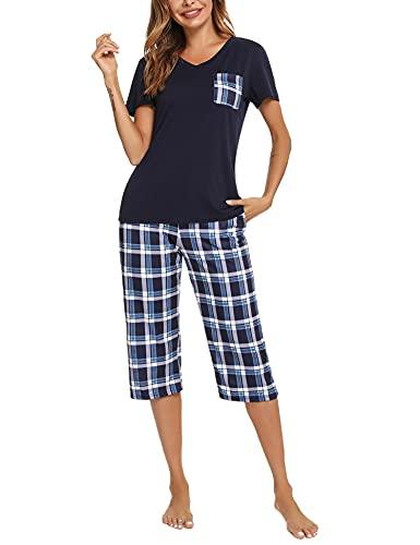 iClosam Pijama Cuadros Mujer Verano Pijamas Cortos Algodon Ropa de Dormir Casa Casual Suave y Comodo (M,Azul)