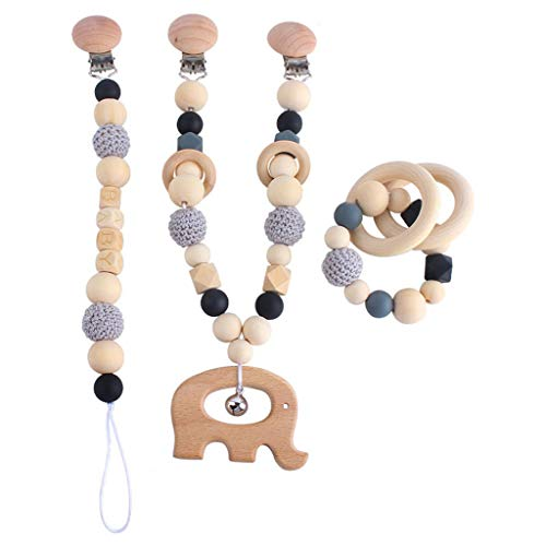 XIANGBEI Juego de 3 piezas / juego de mordedor para cochecito de bebé, con clip colgante para la dentición, anillo de dentición natural