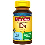 Nature Made Extra Strength Vitamin D3 5000 IU (125 mcg) Softgels, 90 Count for Bone Health