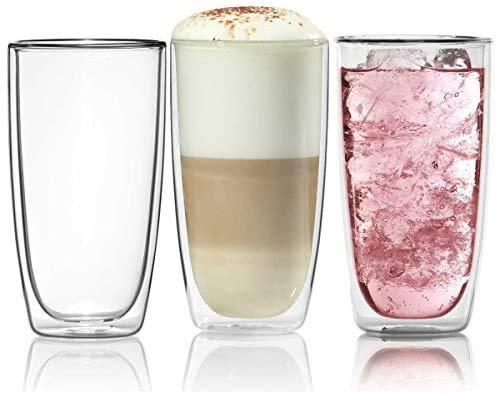 Doppelwandiges Trinkglas 450ml Wasserglas Glas doppelwandig Latte Macchiato Longdrink-Gläser von Dimono (1 Stück)
