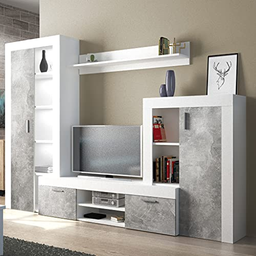 Milani Home s.r.l.s. Parete attrezzata Porta TV Soggiorno Moderna di Design 263 x 40 x 200 h