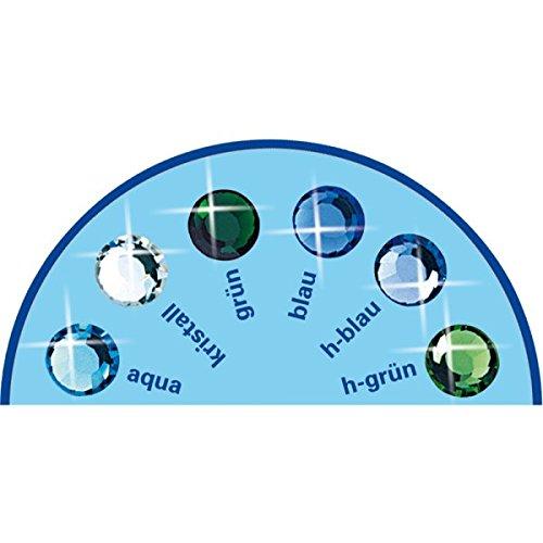 6 Stück Brilident Kristalle, Crystal, Ø ca. 1,8 mm, zum Aufkleben, Zahnschmuck Stein, Zahnschmucksteine Set, 6 sortierte bläuliche Farben, bunt, kristall klar, 6er Strasssteine