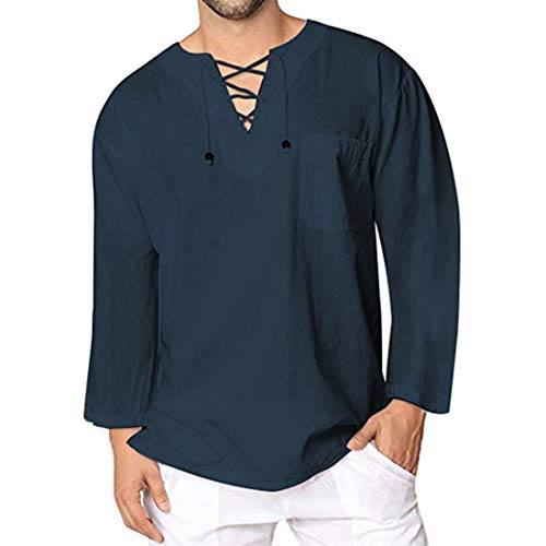 Herren Hemd Herbst Langarmshirt Basic Loose Mode Retro-Einfarbig V-Ausschnitt Kordelzug Leinen Shirt Elegant Leichtes Atmungsaktives Oberteiles 2020 Neu Tägliche Freizeit Tshirt Top 3XL