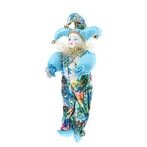 P Prettyia Vintage Clown Modell Porzellanpuppe Dekofigur Ornamente Sammlerstück Geschenke - E - 33 cm