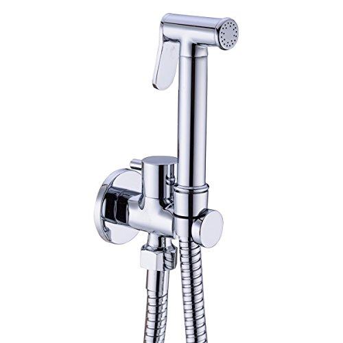 Trustmi Bidet-Sprayer aus Messing für WC, tragbare Bidetdusche mit Absperrventil und Schlauch, Chrom