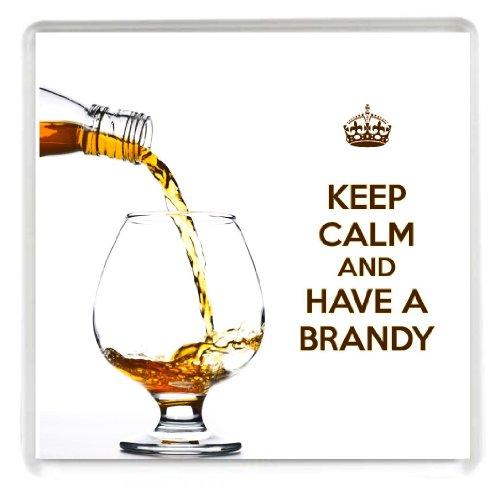 KEEP CALM and HAVE a Cognac dessous de verre imprimée sur une image de Cognac être versé dans un verre de Brandy un cadeau idéal pour un amateur de Brandy.